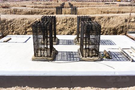 Reinforced concrete foundation at construction site