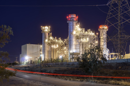 Thermal power plant at night time