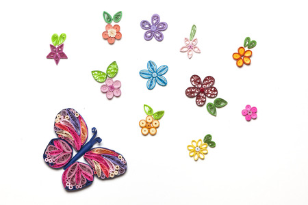 Concept of a garden made with quilling paper technique figures Stock Photo