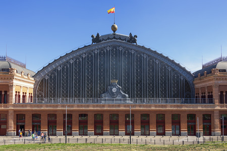 Facade of the Atocha railway station in Madrid, Spain