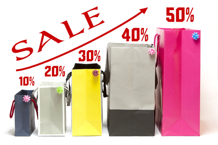 Shopping bags with increasing sale discounts