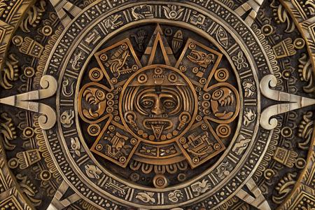 Vista cercana del antiguo calendario azteca