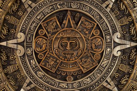 Close view of the ancient Aztec calendar