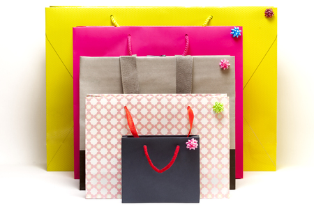 colorful shopping bags with white background