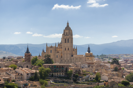 Cathedral of Segovia, in Spain; surounded by the village Zdjęcie Seryjne