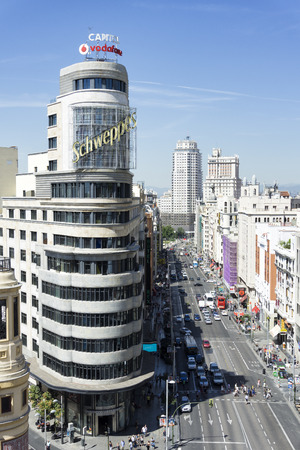 Madrid citiscape, with Capitol building besides the Gran Via street