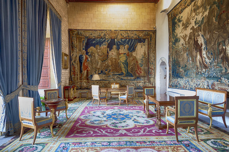 Royal room in the Royal Palace of La Almudaina, in Majorca, Spain