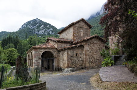 Santa Maria de Lebeña small hermitage in Vega de Liebana, Cantabria, Spain. It was constructed in 925, and it is one of the best Pre-Romanesque art examples in Spain Editorial