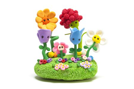 Garden made with modelling clay flowers