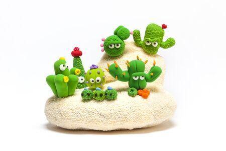 Cactus garden handmade with modelling clay