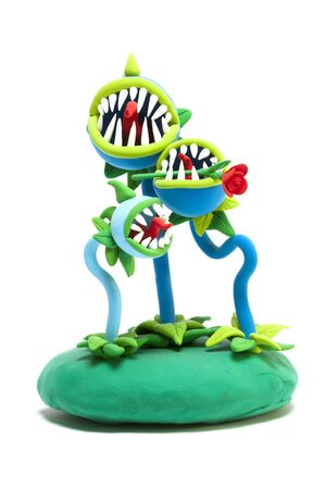 Carnivorous plants handmade with modelling clay