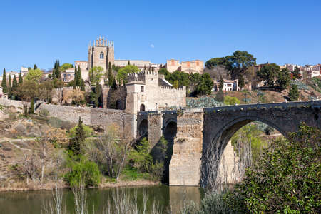 Historic city of Toledo, in Spain over the river Tagus.
