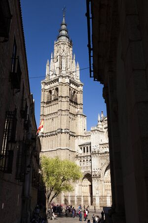 Bell tower of the Toledo cathedral; a 13th-century High Gothic cathedral in Spain