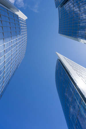 Santiago de Chile city skyscrappers upward view
