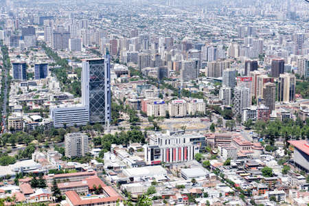 Baquedano square (plaza Italia or plaza de la Dignidad) and Movistar building in Santiago de Chile