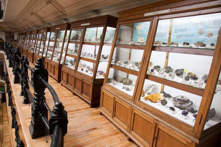 Geomineral Museum (Museo geominero) in Madrid, Spain, displaying minerals and fossils from Spain. It is located in the headquarters of the Geological and Mining Institute of Spain.