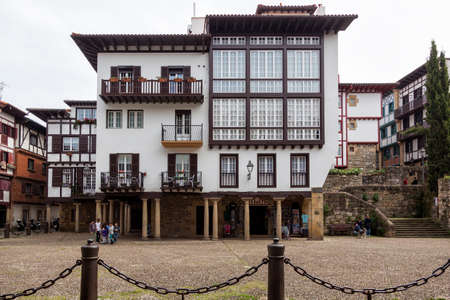 Old houses in the small village of Hondarribia; in Gipuzkoa; Basque Country; Spain