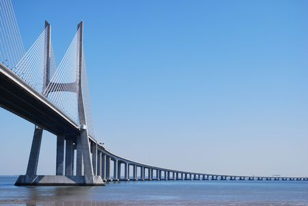 Vasco da Gama Bridge over River Tejo in Lisbon