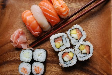 Sushi - Japonese Food (Uramaki, Hossomaki, Nigiri) photo