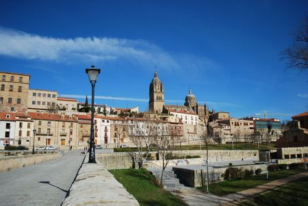 salamanca: View To Salamanca (Cathedral) from Puente Romano, Spain