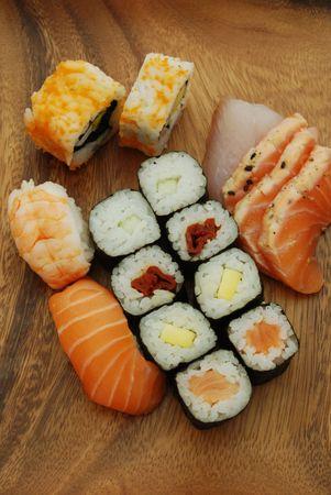 high quality photo of sushi meal (uramaki california, hossomaki, nigiri, sashimi) photo
