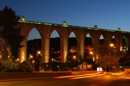 18th: historic aqueduct in the city of Lisbon built in 18th century, Portugal