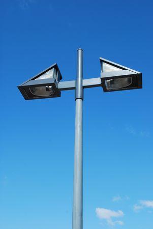 grey metal lamp on a urban park photo