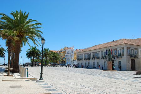 cityscape square with palm trees in Cascais, Portugal photo