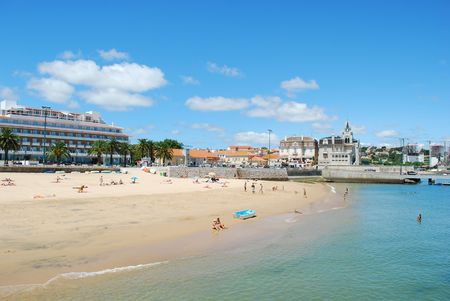 photo of the famous and amazing beach in Cascais city, Portugal Stock Photo