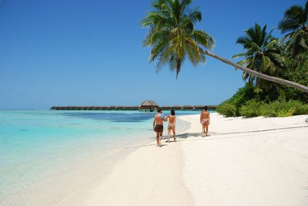 beautiful scene with a family walking by the beach in Maldives photo