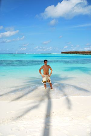 beautiful photo of a young adult standing in the shadow of a palm tree in Maldives photo