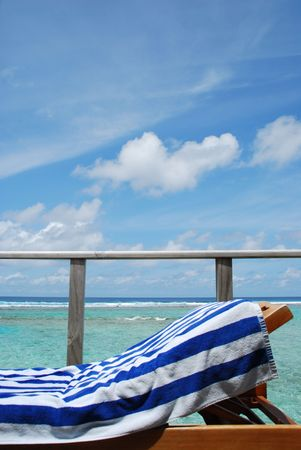 gorgeous clouscape and seascape at a Maldivian resort hotel balcony Stock Photo - 5488127