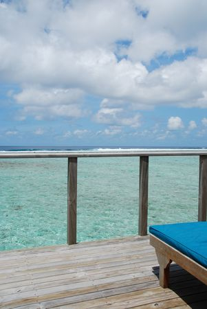 gorgeous clouscape and seascape at a Maldivian resort hotel balcony Stock Photo - 5488179