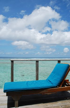 gorgeous clouscape and seascape at a Maldivian resort hotel balcony Stock Photo - 5488157
