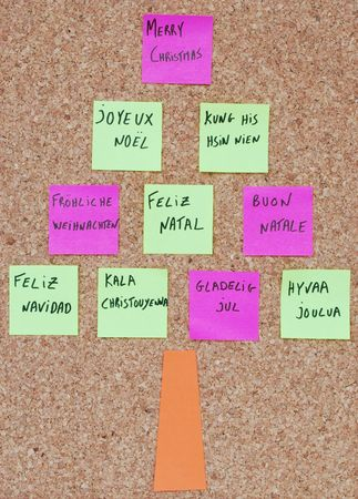 Merry Chritmas tree concept in ten languages with colorful post-it notes on a corkboard photo