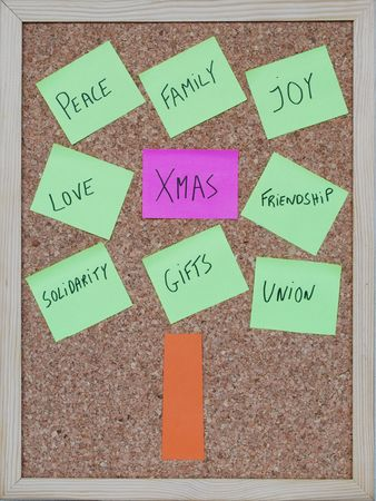 concept of a christmas tree with keywords on post it notes photo