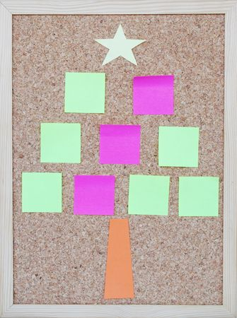 concept of a christmas tree with post it notes photo
