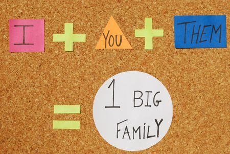frienship: peace,union and frienship concept (I, You, Them, Big Family) on a corkboard with color notes Stock Photo