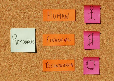 concept of tree important resources (human, financial, technological) on a corkboard with colorful notes Stock Photo - 5737424