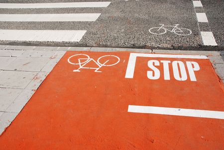 photo of a bicycle lane on a urban road with a pedestrian crossing Stock Photo - 5872331