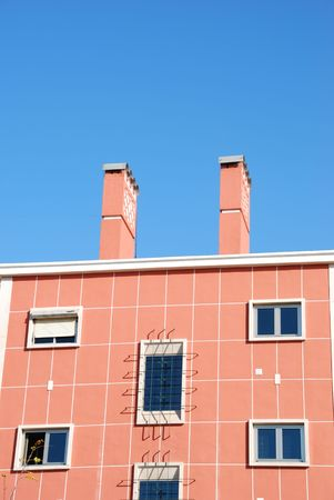 refurbished: close up photo on a refurbished vintage building