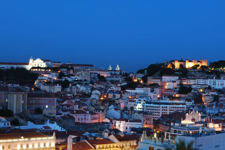 beautiful nightscape view of Lisbon (Castle of Sao Jorge, Cathedral and Pantheon) Stock Photo