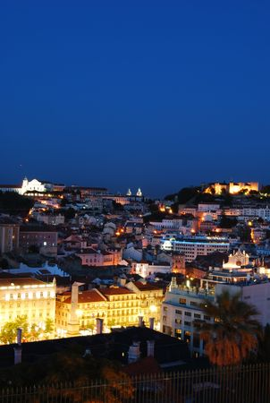 jorge: beautiful nightscape view of Lisbon (Castle of Sao Jorge, Cathedral and Pantheon) Stock Photo