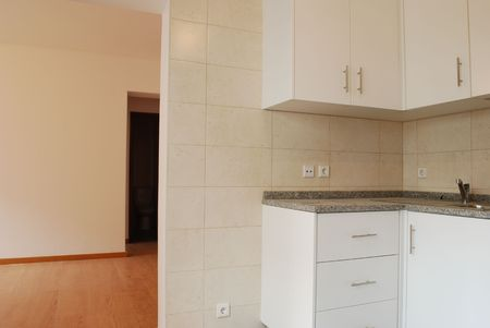 modern and small kitchen in white (wooden floor)  photo
