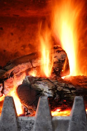 close up of a home fireplace for cold days photo