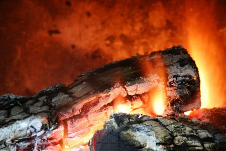 close up of a home fireplace for cold days Stock Photo