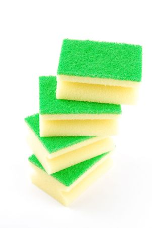 ktchen sponges tower isolated on white background