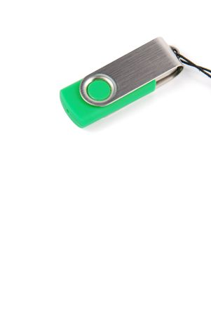 pen drive: green pen drive isolated on white background Stock Photo