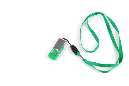 green pen drive with string isolated on white background photo