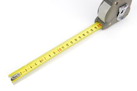 retractable: yellow retractable steel tape measure isolated on a white background